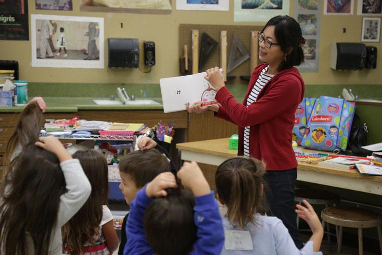 Preschool children learning Japanese