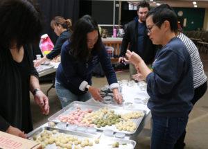 Parents making dango for Hinamatsuri